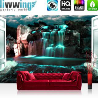 liwwing Vlies Fototapete 312x219cm PREMIUM PLUS Wand Foto Tapete Wand Bild Vliestapete - Wasser Tapete Wasserfall Felsen Wolken Tür Nacht türkis - no. 2964