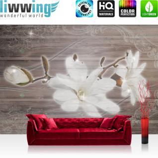 liwwing Vlies Fototapete 312x219cm PREMIUM PLUS Wand Foto Tapete Wand Bild Vliestapete - Orchideen Tapete Holz Holzoptik Blumen Blüten Blätter Orchideen braun - no. 2169