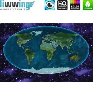 Wandsticker - No. 4749 Wandtattoo Sticker Leuchtsticker Fluoreszierend Landkarte Globus Länder Weltraum Weltall
