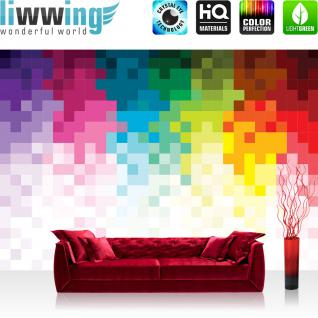 liwwing Vlies Fototapete 416x254cm PREMIUM PLUS Wand Foto Tapete Wand Bild Vliestapete - Illustrationen Tapete Pixel Kacheln Vierecke bunt - no. 1208