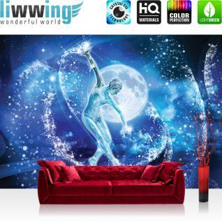liwwing Vlies Fototapete 300x210 cm PREMIUM PLUS Wand Foto Tapete Wand Bild Vliestapete - Meer Tapete Skulptur Frau Eis Wasser Mond blau - no. 963