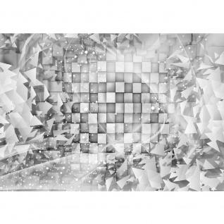 Fototapete 3D Tapete Abstrakt Dreieck Quadrat Würfel Schwung Schnörkel Design Kugeln 3D Optik grau   no. 882