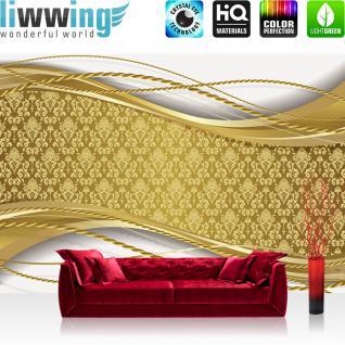 liwwing Fototapete 368x254 cm PREMIUM Wand Foto Tapete Wand Bild Papiertapete - Ornamente Tapete Abstrakt Muster Schnörkel Seil Streifen gold - no. 550