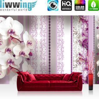 liwwing Vlies Fototapete 312x219cm PREMIUM PLUS Wand Foto Tapete Wand Bild Vliestapete - Orchideen Tapete Blumen Blüten Blätter Orchideen Schnörkel pink - no. 2230