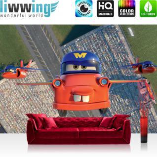 liwwing Vlies Fototapete 208x146cm PREMIUM PLUS Wand Foto Tapete Wand Bild Vliestapete - Kindertapete Tapete Disney Planes Kinderzimmer Flugzeuge Autos bunt - no. 3025