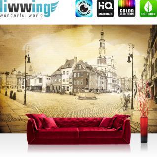 liwwing Vlies Fototapete 254x184cm PREMIUM PLUS Wand Foto Tapete Wand Bild Vliestapete - Stadt Tapete Altstadt Springbrunnen Mittelalter Renaissance gelb - no. 3514
