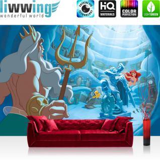 liwwing Fototapete 368x254 cm PREMIUM Wand Foto Tapete Wand Bild Papiertapete - Cartoon Tapete Disney Arielle Kindertapete Meerjungfrau Meer Fisch blau - no. 2999