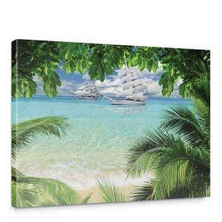 Leinwandbild Meer Wasser Wellen Strand Sand Palme Blätter Boot Segel Wolken | no. 793