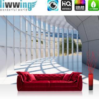 liwwing Fototapete 368x254cm PREMIUM Wand Foto Tapete Wand Bild Papiertapete - Meer Tapete Sand Küste Wind Schilf weiß - no. 3198