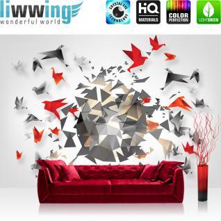 liwwing Vlies Fototapete 208x146cm PREMIUM PLUS Wand Foto Tapete Wand Bild Vliestapete - Kunst Tapete Design Origami Vögel Abstrakt grau - no. 3011