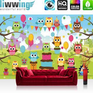 liwwing Fototapete 368x254 cm PREMIUM Wand Foto Tapete Wand Bild Papiertapete - Mädchen Tapete Kindertapete Cartoon Eulen Ballons Illustrationen Mädchen Natur bunt - no. 334