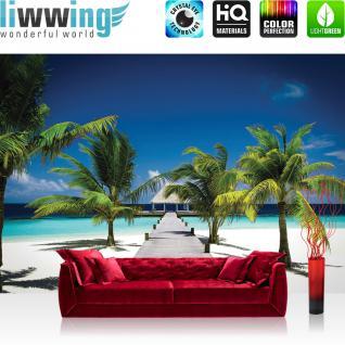 liwwing Vlies Fototapete 350x245 cm PREMIUM PLUS Wand Foto Tapete Wand Bild Vliestapete - Meer Tapete Palme Strand Steg Himmel blau Natur blau - no. 1132