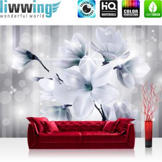 liwwing Vlies Fototapete 416x254cm PREMIUM PLUS Wand Foto Tapete Wand Bild Vliestapete - Blumen Tapete Magnolia Blume Natur grau - no. 1285