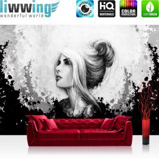 liwwing Vlies Fototapete 312x219cm PREMIUM PLUS Wand Foto Tapete Wand Bild Vliestapete - Kunst Tapete Comic Art Frau Mädchen schwarz - weiß - no. 3555