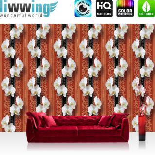 liwwing Vlies Fototapete 400x280 cm PREMIUM PLUS Wand Foto Tapete Wand Bild Vliestapete - Orchideen Tapete Ornamente Blüte Illustrationen rot - no. 345