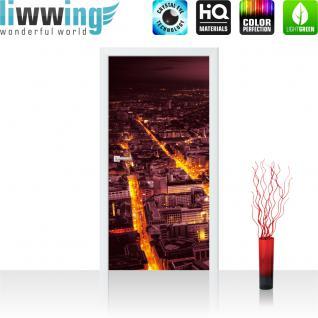 liwwing Türtapete selbstklebend 91x211 cm PREMIUM PLUS Tür Fototapete Türposter Türpanel Foto Tapete Bild - Panorama Skyline Häuser Straßen - no. 958