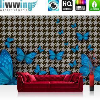 liwwing Vlies Fototapete 350x245 cm PREMIUM PLUS Wand Foto Tapete Wand Bild Vliestapete - Illustrationen Tapete Abstrakt Zeichen Schmetterling Muster blau - no. 358