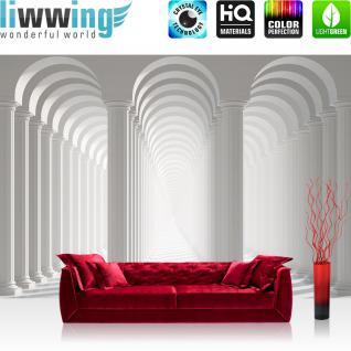 liwwing Vlies Fototapete 312x219cm PREMIUM PLUS Wand Foto Tapete Wand Bild Vliestapete - Architektur Tapete Säulen Architektur Gasse Weg Bogen Schatten Licht weiß - no. 2030