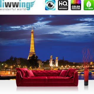 liwwing Fototapete 368x254 cm PREMIUM Wand Foto Tapete Wand Bild Papiertapete - Skylines Tapete Paris Eifelturm Fluss Nacht Lightning Skyline Stadt Panorama gelb - no. 983