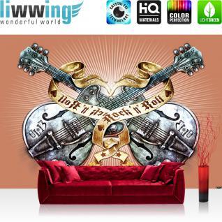 liwwing Vlies Fototapete 400x280 cm PREMIUM PLUS Wand Foto Tapete Wand Bild Vliestapete - Illustrationen Tapete Alchemy Gitarre Rock `n` Roll Vintage Tattoo orange - no. 292