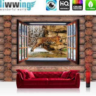 liwwing Vlies Fototapete 208x146cm PREMIUM PLUS Wand Foto Tapete Wand Bild Vliestapete - Holz Tapete Holzwand Holzoptik Holz Fenster Tiger Wasserfall Katze braun - no. 2453