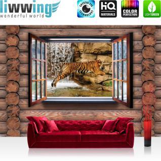 liwwing Vlies Fototapete 312x219cm PREMIUM PLUS Wand Foto Tapete Wand Bild Vliestapete - Holz Tapete Holzwand Holzoptik Holz Fenster Tiger Wasserfall Katze braun - no. 2453