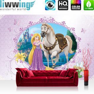 liwwing Vlies Fototapete 300x210 cm PREMIUM PLUS Wand Foto Tapete Wand Bild Vliestapete - Disney Tapete Disney - Rapunzel Kindertapete Cartoon Prinzessin Krone Schloss Lampion lila - no. 1066
