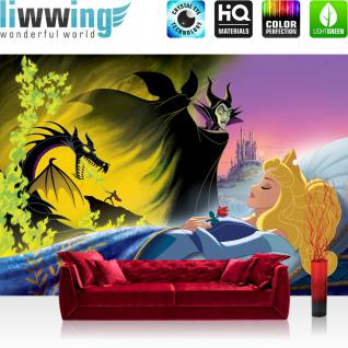 liwwing Vlies Fototapete 208x146cm PREMIUM PLUS Wand Foto Tapete Wand Bild Vliestapete - Disney Tapete Villains Maleficent Prinz Prinzessin Drachen Cartoon Kindertapete bunt - no. 1813