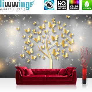 liwwing Fototapete 254x184cm PREMIUM Wand Foto Tapete Wand Bild Papiertapete - Illustrationen Tapete Schmetterlinge Baum Sterne gold - no. 3205