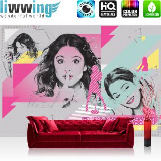 liwwing Fototapete 368x254 cm PREMIUM Wand Foto Tapete Wand Bild Papiertapete - Disney Tapete Disney - Violetta Kindertapete Mädchen Singen Musik grau - no. 501