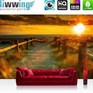 liwwing Vlies Fototapete 350x245 cm PREMIUM PLUS Wand Foto Tapete Wand Bild Vliestapete - SUNSET BEACH - Sonnenaufgang Strand Meer Felsen Sunset - no. 064