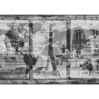 Fototapete Holz Tapete Holzwand Holzoptik Holz Paris Schrift Eifelturm Notre Dame grau | no. 2500