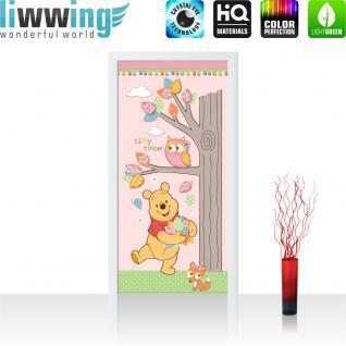 liwwing Vlies Türtapete 91x211 cm PREMIUM PLUS Tür Fototapete Türposter Türpanel Foto Tapete Bild - DISNEY Winnie Pooh Kindertapete Cartoon Bär Fuchs Eule Baum - no. 1121