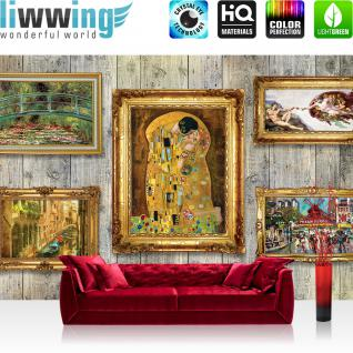 liwwing Fototapete 254x168 cm PREMIUM Wand Foto Tapete Wand Bild Papiertapete - Holz Tapetewand Holzoptik Holz Bilderrahmen Kunst Gemälde gold - no. 1483