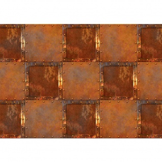 Fototapete Texturen Tapete Stahl Rechtecke Kacheln Vintage Rost Texturen braun   no. 3123