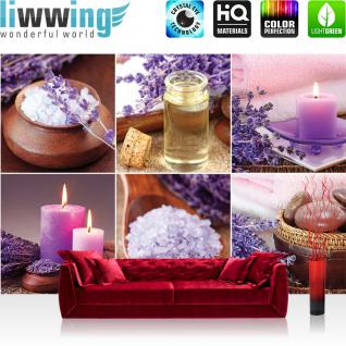 liwwing Fototapete 368x254cm PREMIUM Wand Foto Tapete Wand Bild Papiertapete - Wellness Tapete Badesalz Kerzen Steine Duftöl lila - no. 3339