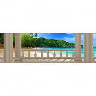 Leinwandbild Terrace View Caribbean Beach Seeblick 3D Strand Meer Sonne Palmen | no. 121 - Vorschau 3