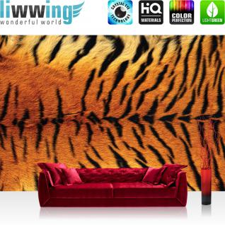 liwwing Vlies Fototapete 208x146cm PREMIUM PLUS Wand Foto Tapete Wand Bild Vliestapete - Tiere Tapete Fell Muster Tiger Tier Streifen orange - no. 3006