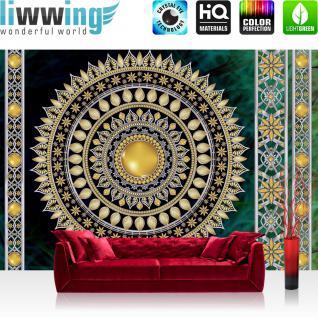 liwwing Vlies Fototapete 312x219cm PREMIUM PLUS Wand Foto Tapete Wand Bild Vliestapete - Ornamente Tapete Mandala Sterne Perlen grün - no. 3234