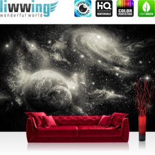 liwwing Vlies Fototapete 416x254cm PREMIUM PLUS Wand Foto Tapete Wand Bild Vliestapete - Welt Tapete Weltraum Weltall Planeten Galaxie Sterne anthrazit - no. 2962