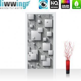 liwwing Türtapete selbstklebend 91x211 cm PREMIUM PLUS Tür Fototapete Türposter Türpanel Foto Tapete Bild - Abstrakt Kreise Löcher Wand 3D Optik - no. 885