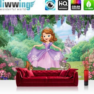 liwwing Fototapete 368x254cm PREMIUM Wand Foto Tapete Wand Bild Papiertapete - Disney Disney - Sofia die Erste Tapete Sofia die Erste Kalle Schloss lila - no. 3334