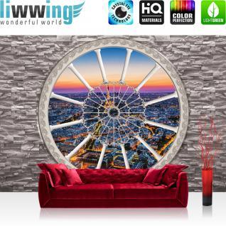 liwwing Vlies Fototapete 416x254cm PREMIUM PLUS Wand Foto Tapete Wand Bild Vliestapete - Steinwand Tapete Steinoptik Stein Fenster Skyline Paris Eiffelturm grau - no. 2963