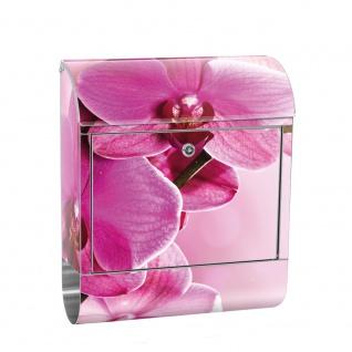 Edelstahl Wandbriefkasten XXL mit Motiv & Zeitungsrolle | Orchidee Blumen Rosa Pink Natur Pflanzen | no. 0099