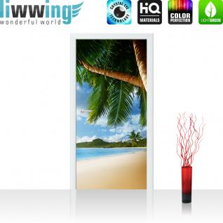 liwwing Türtapete selbstklebend 100x211 cm PREMIUM PLUS Tür Fototapete Türposter Türpanel Foto Tapete Bild - LONELY BEACH - Strand Meer Palmen Beach 3D Ozean Palme - no. 004
