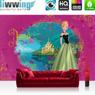 liwwing Fototapete 254x168 cm PREMIUM Wand Foto Tapete Wand Bild Papiertapete - Disney Tapete Disney - Frozen Eiskönigin - Anna Kindertapete Cartoon Prinzessin pink - no. 1126