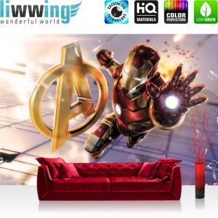 liwwing Vlies Fototapete 416x254cm PREMIUM PLUS Wand Foto Tapete Wand Bild Vliestapete - Jungen Tapete Marvel AVENGERS Iron Man Cartoon Illustration bunt - no. 1899