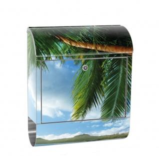 Edelstahl Wandbriefkasten XXL mit Motiv & Zeitungsrolle | Strand Meer Palmen Beach 3D Ozean Palme | no. 0004