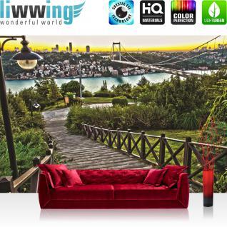 liwwing Vlies Fototapete 312x219cm PREMIUM PLUS Wand Foto Tapete Wand Bild Vliestapete - Skylines Tapete Skyline Brücke Weg Treppen Laterne Häuser Fluss grau - no. 2838