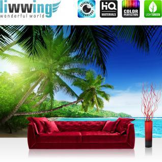 liwwing Fototapete 368x254 cm PREMIUM Wand Foto Tapete Wand Bild Papiertapete - Meer Tapete Palmen Strand Paradies Wasser blau - no. 3160
